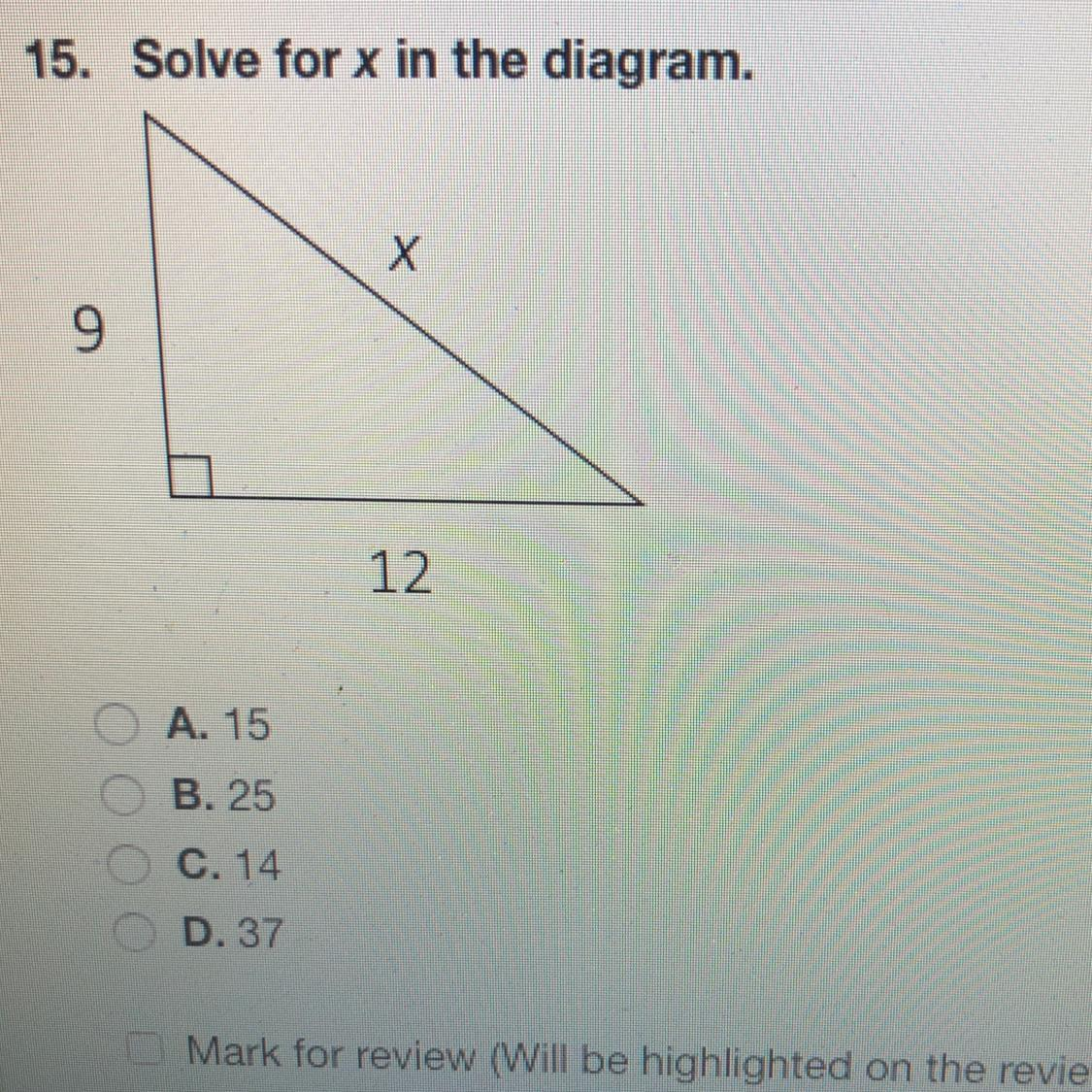 Solve for X in the diagram below